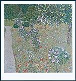 Bild mit Rahmen Gustav Klimt - Obstgarten mit Rosen - 1911/12 - Holz blau, 67.0 x 71.0cm - Premiumqualität - Klassische Moderne, dekorativ, Jugendstil, Gartenweg, Rosen, Blüten, Blumen, Blumengarte.. - MADE IN GERMANY - ART-GALERIE-SHOPde