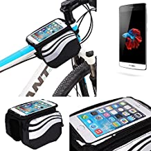 Bolso Bolsa Funda Bicicleta para TP-LINK Neffos C5, Teléfono Móvil Funda Móvil soporte tubo Bici Ciclismo, negro y plata, Impermeable Resistente al Agua - K-S-Trade(TM)