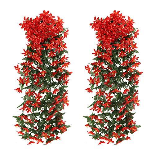 NAHUAA 2pcs Kunstblumen Hängend Künstliche Blumen Girlande Kunstpflanze Hängend Plastikblumen Lilie Künstliche Hängepflanzen Lang für Topf Balkon Garten Draußen Wand Dekoration Rot