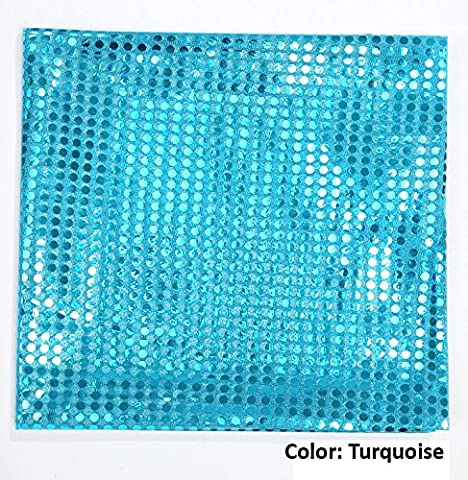 Confetti Sequins Dot Decorative Dress Jersey Fabric, Stretch Knit Mesh Base Polyester For Costume, Dance & Ballet, Cheer and Décor, Neotrims, Turquoise  - 1