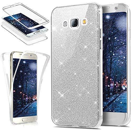 Kompatibel mit Galaxy S3 Hülle,Galaxy S3 Neo Hülle,Full-Body 360 Grad Bling Glänzend Glitzer Klar Durchsichtige TPU Silikon Hülle Handyhülle Tasche Front Cover Schutzhülle für Galaxy S3/S3 Neo,Silber