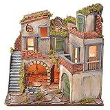 Holyart Borgo presepe Napoletano Stile 700 con pozzo e Luce 45x55x38