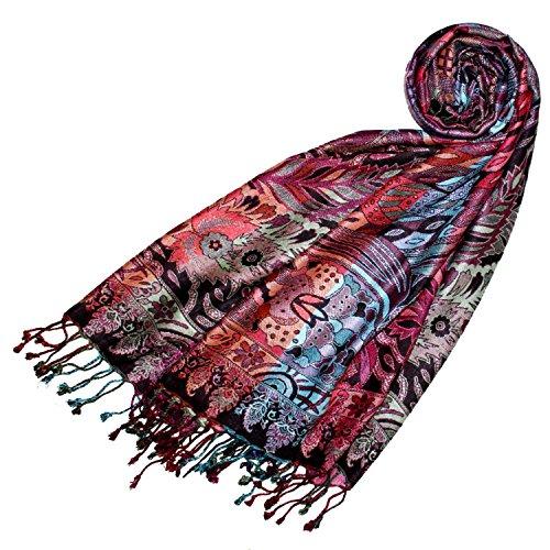 LORENZO CANA Marken Pashmina Schal Schaltuch Stola Umschlagtuch Naturfaser opulentes Muster in harmonischen Farben mit Fransen 70 x 200 cm (Schal Italienischer Damen Seide)