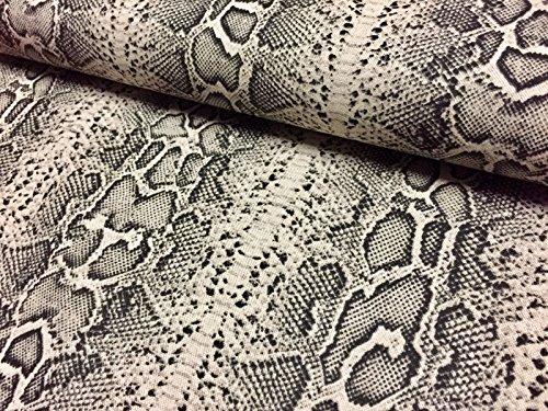 Schlange Haut oder Zebra Animal Print Stoff Leinen Baumwoll-Mischgewebe Vorhang Decor Kleid 140cm (Meterware) Schlangenleder-Optik (Lush Snake)