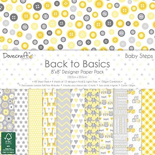 Dovecraft Back To Basics Baby Steps Kollektion - Papierpackung 8 Zoll x 8 Zoll (12 Designs, FSC)