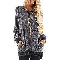 SEBOWEL Camicia Donna Elegante Manica Lunga Blocchi di Colore Felpa Maglietta Casual Patchwork Sweatshirt Tunica Taglie…
