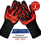 Tidinesslife Grillhandschuhe BBQ Handschuhe extrem hitzebeständige Ofenhandschuhe RedTwo