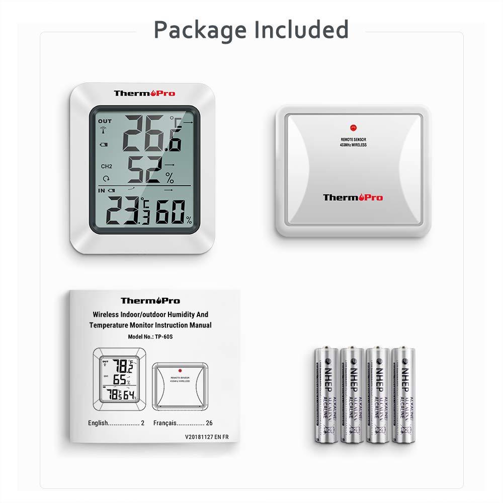 ThermoPro TP60S Wireless Termometro Igrometro Interno Esterno Termoigrometro digitale con Sensore Remoto per Casa Misura di Umidit/à e Temperatura
