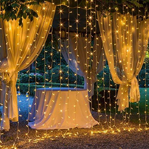 OxyLED LED Lichtervorhang 3x3m,306 LED Sterne Lichterkette Vorhang,IP44 wasserdicht 8 Modi Lichterkettenvorhang für Innen Außen Partydekoration deko schlafzimmer Garten Party Hochzeit -