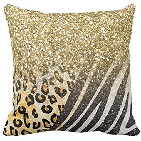 Awesome girly trendy gold leopard and zebra print pillowcase Pillow shams case Cushion Cover 2222