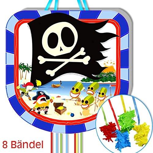 Zug-Pinata Pirateninsel, 43cm, mit 8 Bändeln, für Pinata-Spiele