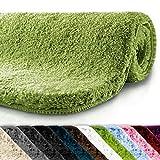 Badematte | kuscheliger Hochflor | rutschfester Badvorleger | viele Größen | zum Set kombinierbar | Öko-Tex 100 zertifiziert | 70x120 cm | Apple Green (grün)