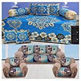 #4: The Intellect Bazaar 500 TC Chenille Sofa Cover and Diwan Set Combo, Blue