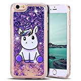 Mosoris Coque iPhone 6S Glitter Liquide Cover Mode 3D TPU Etui Licorne iPhone 6 Transparent Souple Silicone Etui Housse Bling Paillettes Flowing Sand Case pour iPhone 6 / 6S, Violet