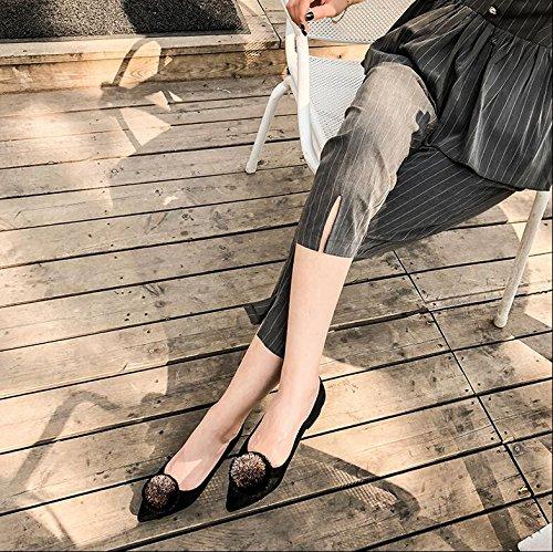 e Spitze Wilde haarige Kugel niedrighackigen Komfort Schuhe Casual Füße Flache Schuhe Weiblich 39, Schwarz (Haarigen Fuß)