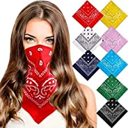 8 Pieces Paisley Cowboy Bandana Headband Polyester Unisex Double-Sided Printed Headwraps Wristband Assorted Co