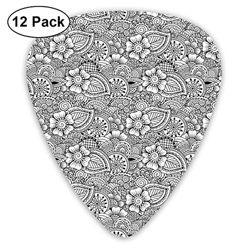 Guitar Picks 12-Pack,Tribal Henna Tattoo Design Monochrome Asian Cultures Inspirations Floral Elements -