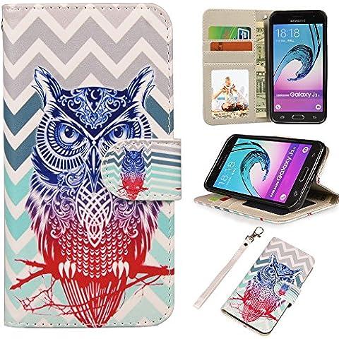 MyArmor Premium PU Custodia in pelle Flip Cover con Card Slot e Supporto per Samsung Galaxy J3(2016)/Express Prime/AMP Prime owl