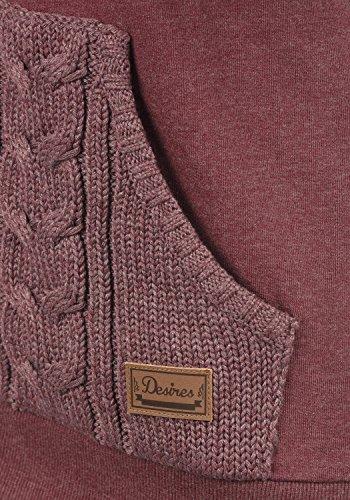 DESIRES Matilda Damen Sweatjacke Kapuzen-Jacke Zip-Hoodie mit Strick-Kapuze aus hochwertiger Baumwollmischung Wine Red Melange (8985)