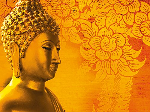 Artland Qualitätsbilder I Wandtattoo Wandsticker Wandaufkleber 40 x 30 cm Fantasy Mythologie Religion Buddhismus Foto Rot A7RK Buddha Goldstatue Thailand