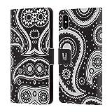 Head Case Designs Schwarz Paisley Muster Serie 2 Brieftasche Handyhülle aus Leder für iPhone XS Max