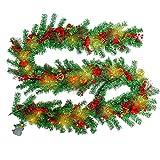 HENGMEI 300cm Weihnachtskranz Türkranz Dekokranz Weihnachtsgirlande mit 60 warmweißen LEDs PVC Tannengirlande Weihnachtsdeko Tannenkranz (C, mit Tannenzapfen und Apfel, 300cm mit LED)