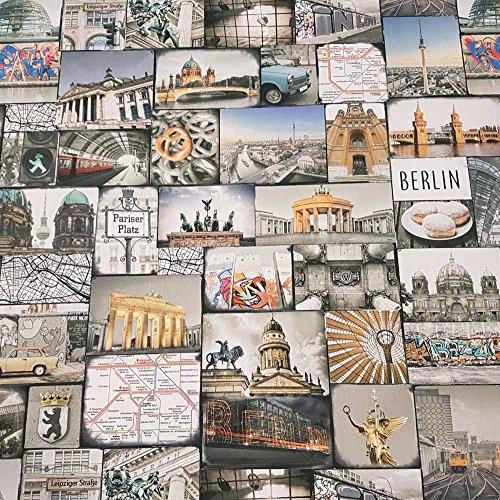 Stoff Meterware Baumwolle Berlin Reichstag Funkturm Trabbi Mauer Siegessäule Digitaldruck Fotodruck