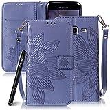SlynmaxSchutzhülle für Samsung Galaxy J3 (2016 Version) Hülle Tasche Flip Cover Case Wallet Blumen Mandala Hand Strap Lederhülle Lanyard Handyhülle Stand Ständer Karte Klapphülle (Blau)