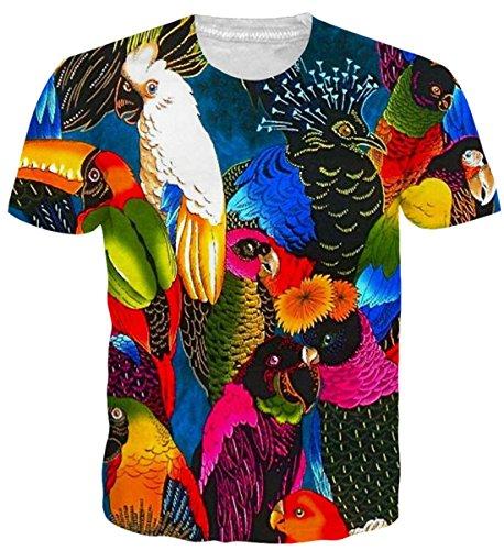 uideazone 3D Print Papagei Vögel Kurzarm Hawaiisch T Shirts for Men Womens Jungen