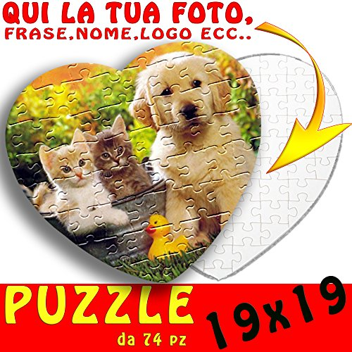Puzzle Cuore personalizzato con foto,testo,nome,logo ecc 19x19