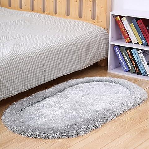 Moderno e minimalista ovale spessa camera da letto e soggiorno divano tavoli laterali, extra spessi tappeti di seta stretch tappeti ,80 personalizzato x 160cm, grigio