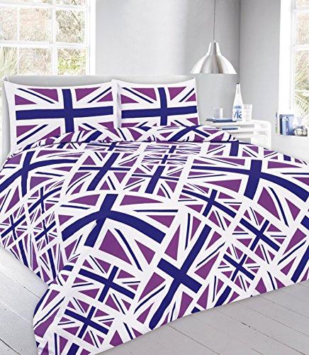 Modern Union Jack Printed Reversible Duvet Cover Sets Bedding Pillow Cases Single, Double, King, Super King (Double, Union Jack- Purple)