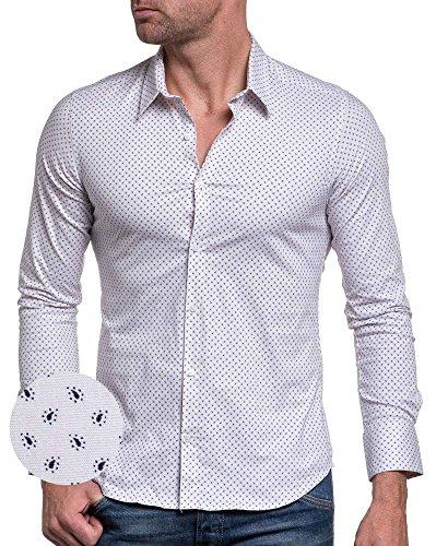 BLZ jeans - Chemise chic blanche à motifs col classique Blanc