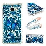 E-Mandala Samsung Galaxy A3 2016 Hülle Glitzer Flüssig Liquid Glitter Case Cover Handyhülle Schutzhülle Transparent mit Muster Durchsichtig Tasche Silikon - Blumen Schmetterling Lila