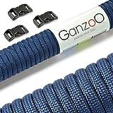 Paracord 550 Starter-Set einfarbig mit 3 Klickverschlüssen für Armband, Knüpfen von Hundeleine oder Hunde-Halsband zum selber machen / Seil mit 4mm Stärke / Mehrzweck-Seil / Survival-Seil / mit 7 Kernsträngen / Parachute Cord belastbar bis 250kg (550lbs) / reißfestes Kernmantel-Seil / inkl. 3 Klickverschlüssenaus Kunststoff (3/8') / Erhältlich in vielen verschiedenen Farben, Marke Ganzoo (Navyblau, 15 Meter)