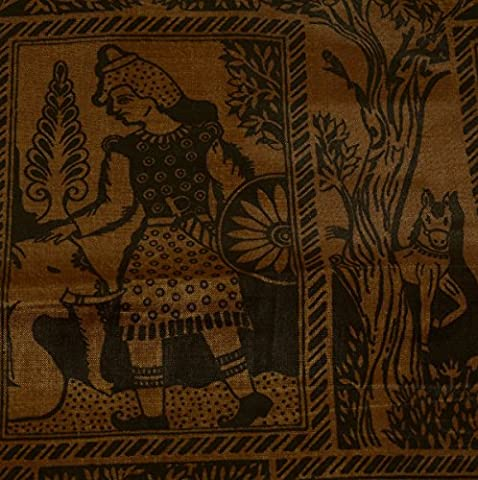 Vintage Sari Indian Art Silk Printed Human Animal Saree Craft