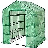 Foliengewächshaus Treibhaus, CRAVOG Stabil PVC Folie Gewächshaus Tomaten mit Schrägdach für Balkon und Garten zur Aufzucht, 143 x 143 x 195 cm