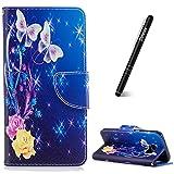 Schutzhülle für Galaxy S7 Edge Blau,Slynmax Blumen Schmetterling PU Leder Tasche Wallet Case Handyhülle für Samsung Galaxy S7 Edge Hülle Flip Cover Klapphülle Case Lederhülle Stand Kartenfächer