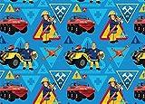 Baumwolljersey Sam der Feuerwehrmann blau Meterware Kinderstoff Jersey Digitaldruck 1 m