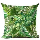 Federa per cuscino in lino con foglie e piante verdi tropicali, arredo per la casa, Lino, 8 Green Leaves, 8 Green Leaves
