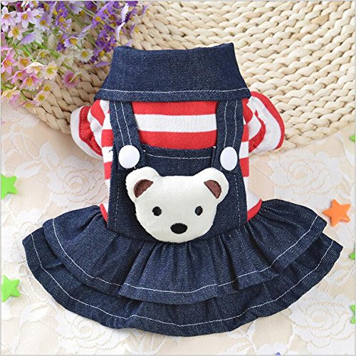 (Pet Dog Striped Denim Armband Bear Hoodie Warm Gestreift Haustiere Kostüm Katzen Welpe Lätzchen (Herbst/Winter) , #1 , Xl)