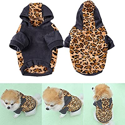 Zrong Pet Dog Cat Puppy Warm Leopard Hoodie Hooded Sweaters Coat Costume Clothes Apparel