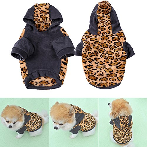 Leopard Sweatshirt Haustiermantel Hunde Kleidung Cotton Flannelette Mantel Hoodie Jumpsuit Jacken für Große Hunde Katze Welpen Haustier Winter Blau - Minion Kostüm Fallen