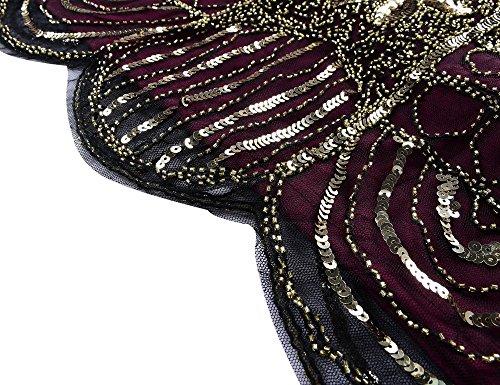 Kayamiya Damen Retro 1920er Perlen Pailletten Blatt Art Deco Gatsby Flapper Kleid Gold Burgund