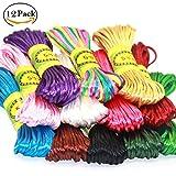 Ewparts 12 paquetes 2.5mm Satin / Rattail cuerda de seda para collar pulsera cordón de reborde para...