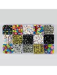 PsmGoods colourido acrílico perlas granos del alfabeto para Manualidades DIY bricolaje accesorios pulseras DIY, 15GE-02