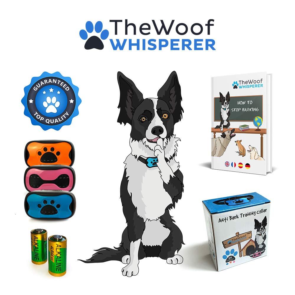 The Woof Whisperer Anti Bark Dog Collar Small Medium Large Dogs STOP BARKING No Shock Vibration Sound Training Collar HUMANE & SAFE Automatic Anti-Bark Barking Deterrent Device