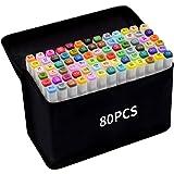 80 Couleurs Marqueurs, Markers, Feutres à Kit Double Pointe Stylo , Marqueur d'Aquarelle Crayon de Feutre Marker Débutants Gr