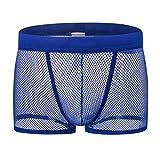 DDSCOLOUR Boxer Homme Sexy Slips Shorts Sous-vêtements Transparent Briefs [Bleu X-Large]