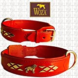 Woza Exclusive HUNDEHALSBAND 3,8/60CM Labrador Vollleder Rindleder Nappa ROT Handmade Collar